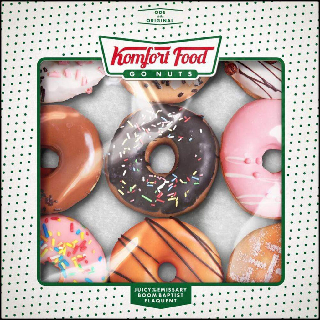Album cover for Komfort Food by BoomBaptist, Elaquent, and Juicy the Emissary